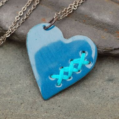 Custom Made Mended Broken Enamel Heart Pendant Necklace Copper Enameled Jewelry Sewn Denim Blue