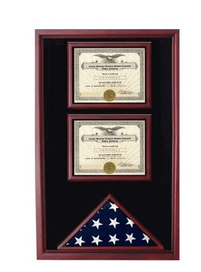Custom Made 2 Documents Flag Display Cases