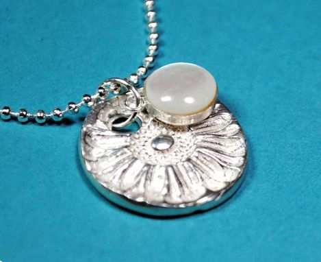Custom Made Sunflower Fine Silver Artisan Necklace With Moonstone Cabochon