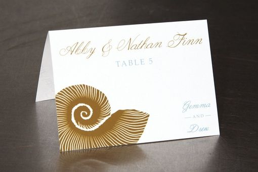 Custom Made Seashell Place Cards - Escort Cards