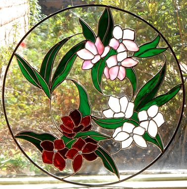 Custom Made Oleander Stained Glass Window