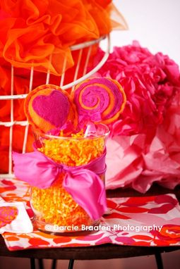 "Custom Made Orange And Pink Felt Lollipops ""Orange Sherbet''"