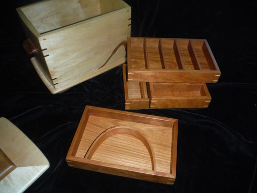Custom Made Maple Jewelry Box With Slotted Insert Trays