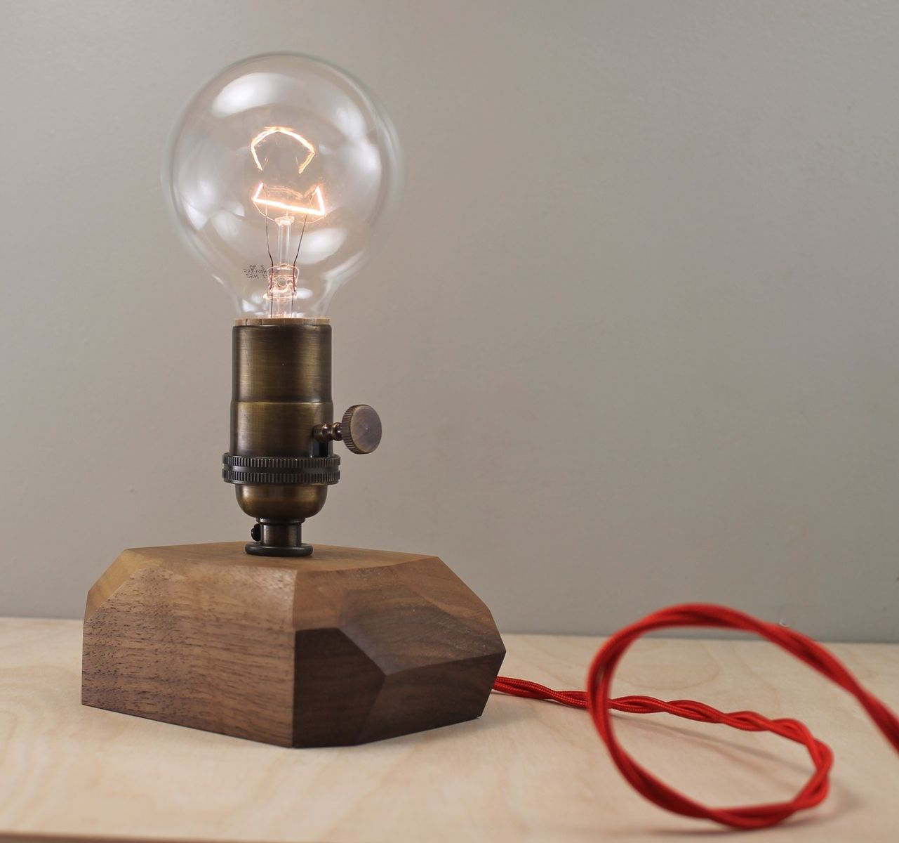 Custom made modern faceted wood table lamp by scandalaskan design custom made modern faceted wood table lamp keyboard keysfo Image collections