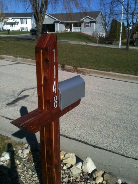 Handmade mailbox post wrap aromatic cedar by holtzer for Unique mailboxes with post