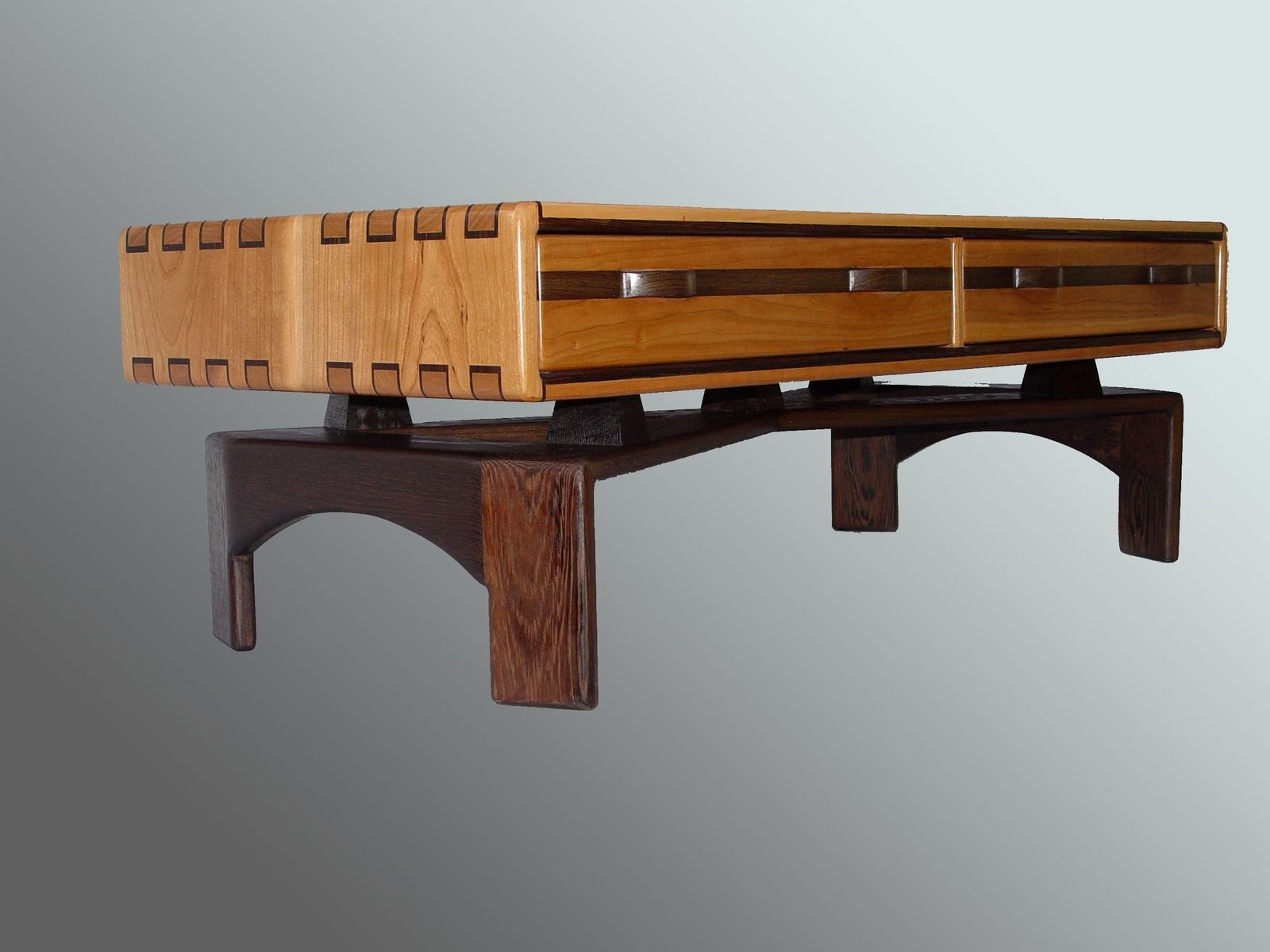 hand crafted cherry and wenge coffee table by jon s manss  - custom made cherry and wenge coffee table