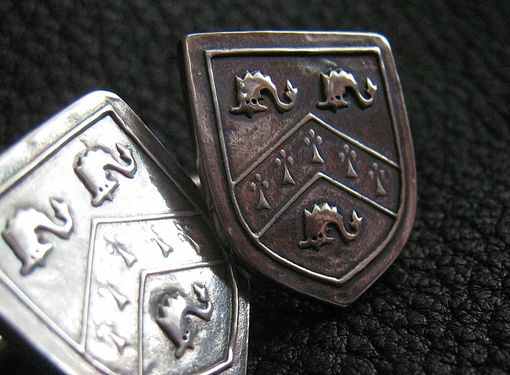 Custom Made Sterling Silver Cufflinks Cuff Links With Custom Coat Of Arms Family Crest Heraldic Motif