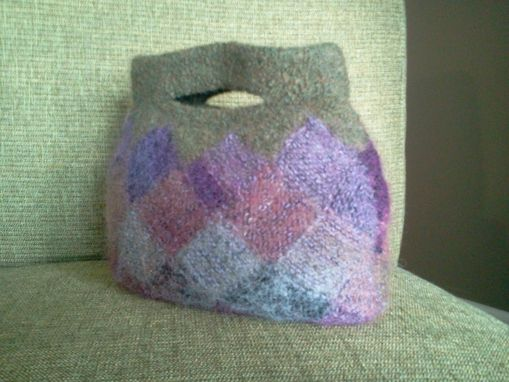 Custom Made Violets In The Glen Handmade Knitted And Felted Interlock Design Bag