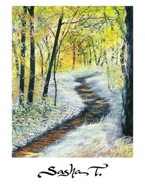 Custom Made Landscape Print Of Forest Path Sumer Time Green, Blue, White And Purple Painting