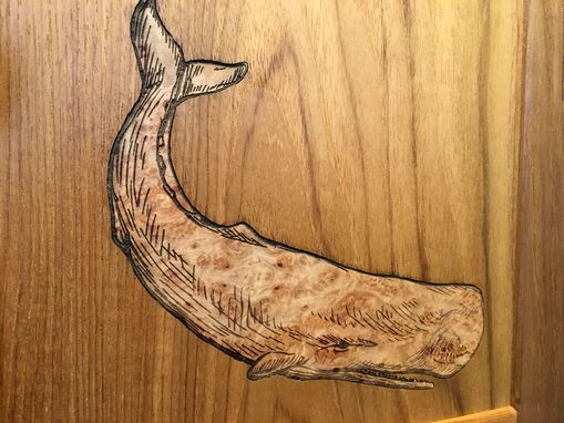 Custom Made Teak Medicine Cabinet With Sperm Whale Inlay