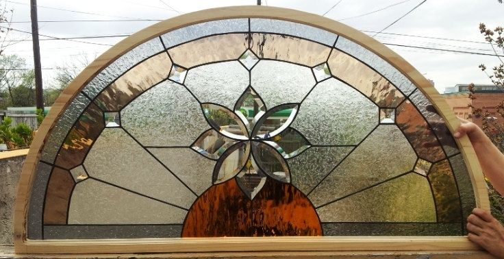 Custom Stained Glass Arched Window Quot Beveled Flower Quot Tw