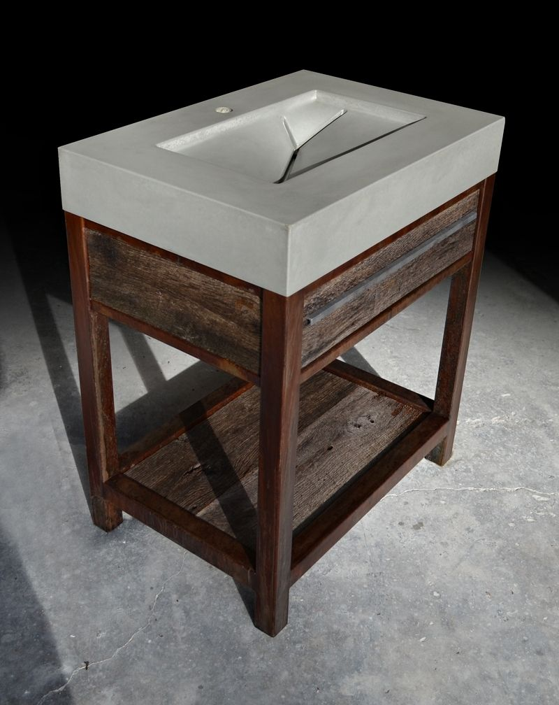 Hand Made Rustic Modern Concrete Wood Steel Vanity By Formed Stone Design