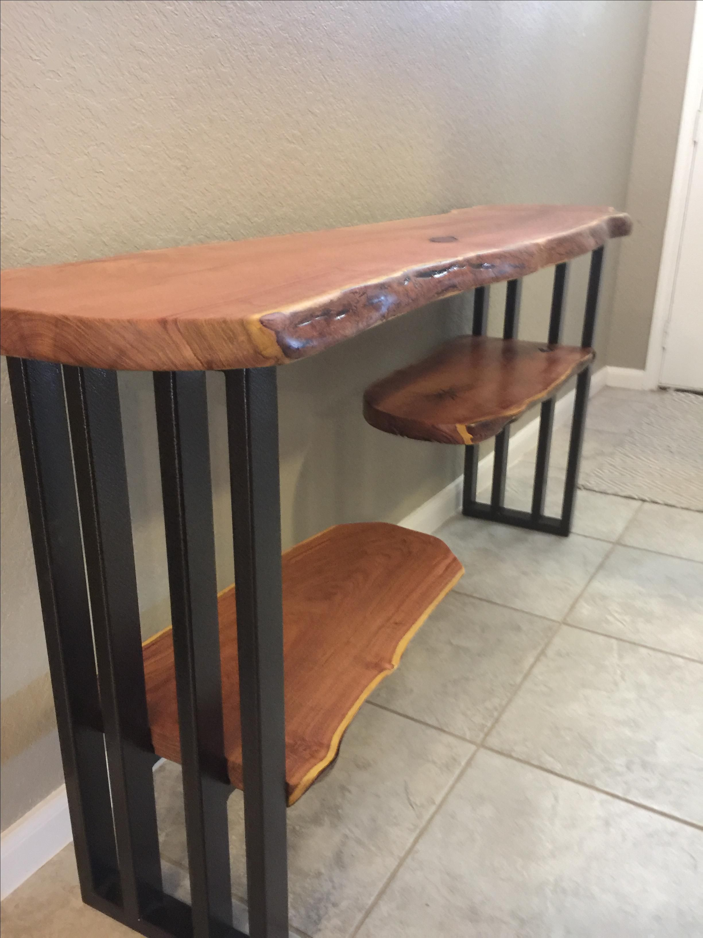 Foyer Table Tv : Hand made console table sofa entryway live edge