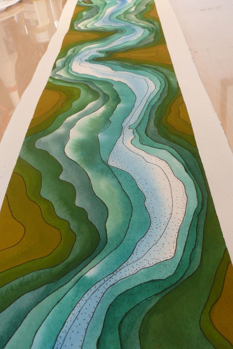 Hand Crafted Watercolor Topography Panoramic Views Of
