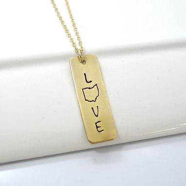 Custom Made Ohio Love Stamped Necklace