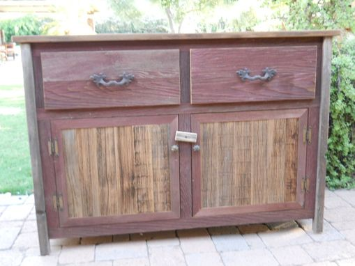Custom Made Solid Red Buffet Cabinet