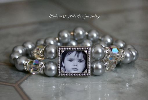 Custom Made Photo Bracelet With Swarovski Glass Pearls, Swarovski Crystals, And Rhinestones For Mother Of The Bride