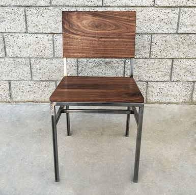 Custom Made Industrial Style Walnut And Steel Dining Or Desk Chair