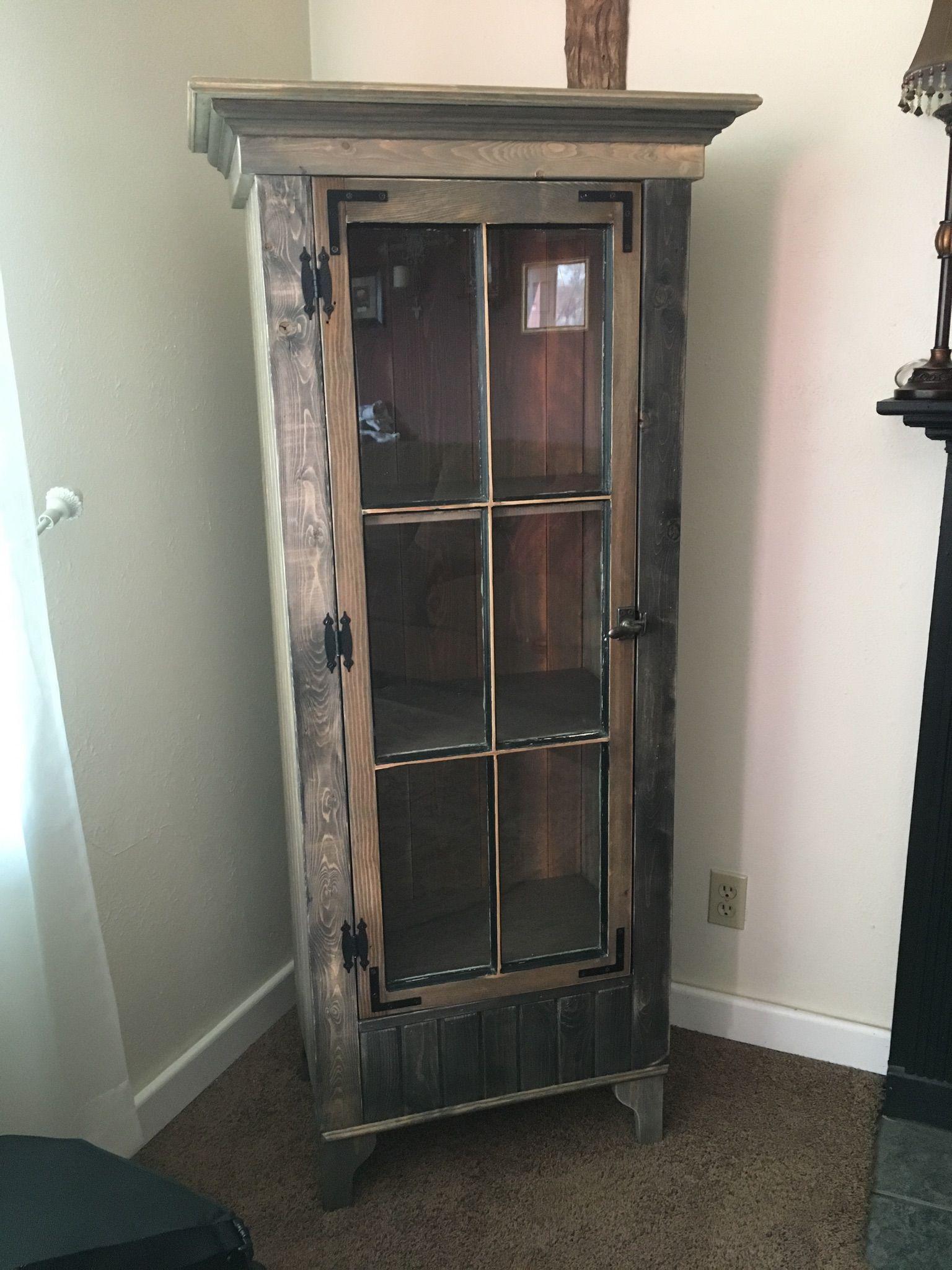 Custom Rustic Curio Cabinet With Reclaimed Antique Window