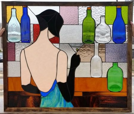 "Custom Made Stained Glass Panel - ""Lady With Martini"" (P-48)"