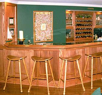 Custom Made Oak Bar And Kitchen