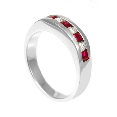 Custom Made Princess Ruby And Diamond Band In 14k White Gold, July Birthstone Ring, Ladies Band