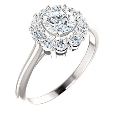 Custom Made Halo Engagement Ring Set With 1.02 Carat Total Weight Genuine, Natural Diamonds