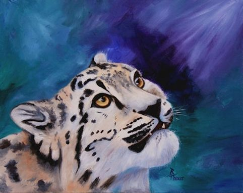 Custom Made Baby Snow Leopard Original 16x20 Oil Painting