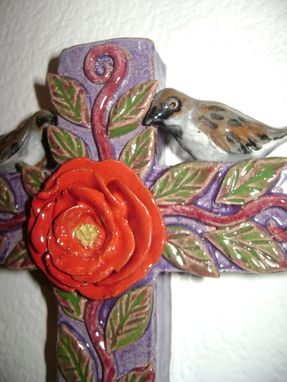 Custom Made Sparrows On A Cross Ceramic Wall Hanging