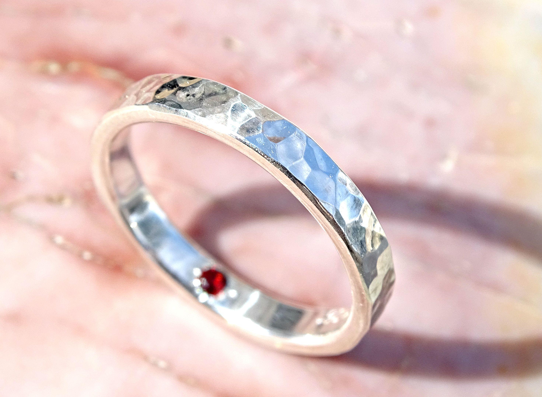 Buy a Hand Made Hidden Gemstone Ring Silver, Alternative Engagemet ...