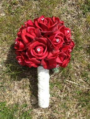 Custom Made Classy True Touch Red Rose Bouquet With Diamond Pins