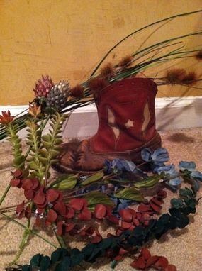 Custom Made Cowboy Boots - Custom Floral Arrangement Set Of 2