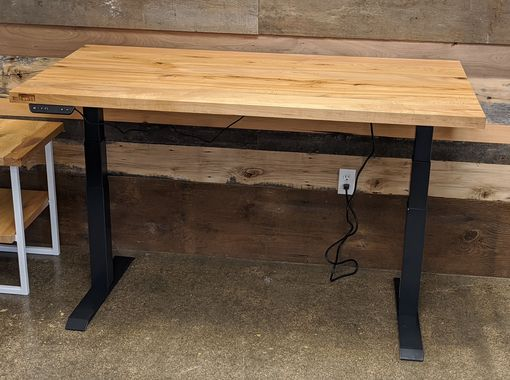 Custom Made Reclaimed Wood Adjustable Height Home Office Desk