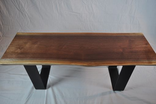 Custom Made Solid Walnut Slab Bench With Steel Base