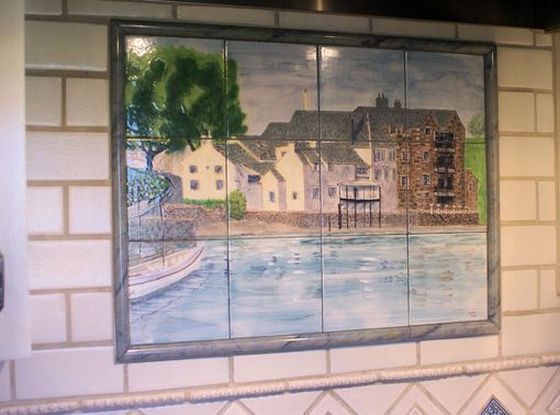 Custom Made Kitchen Mural In Hand Painted Ceramic Tile: Scottish Castle