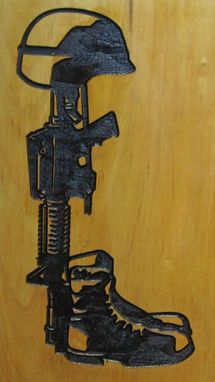 Custom Made Fallen Heroes Deeply Hand Carved Military Wood Wall Hanging / Sign
