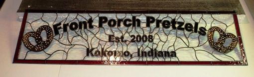 Custom Made Stained Glass Transom - Front Porch Pretzels (Tw-18)
