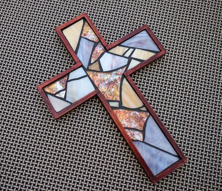 Custom Made Handmade Wooden Cross, Rustic Brown Mosaic Wall Cross