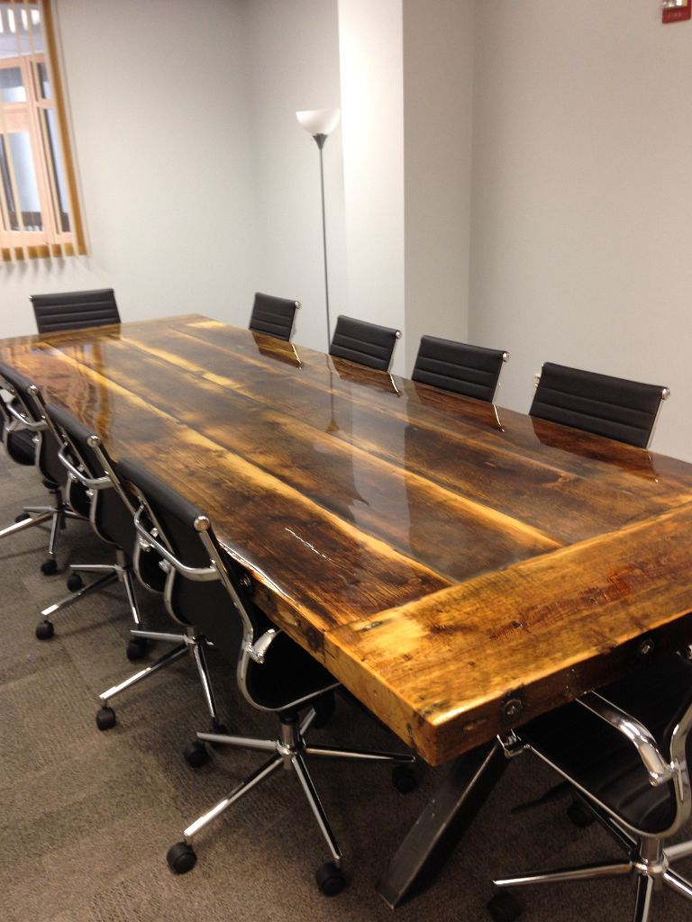 Hand Crafted 10 X 4 Reclaimed Conference Table With Steel