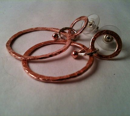 Custom Made Tribal Hoop Earrings In Copper With Silver Accents