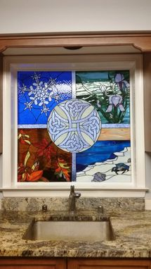 "Custom Made Stained Glass Window - ""Four Seasons & Celtic Cross""  (W-78)"