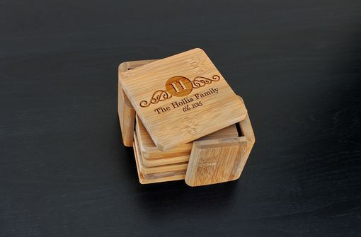 Custom Made Custom Bamboo Coasters, Custom Engraved Coasters --Cst-Bam-Hollis Family