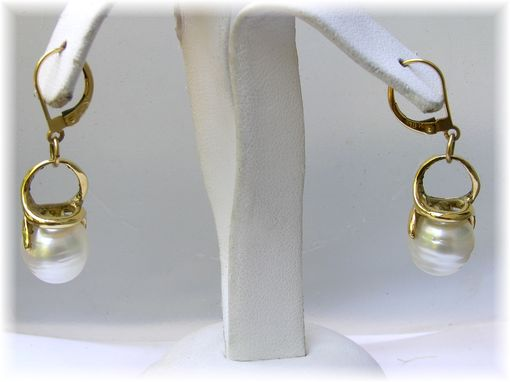 Custom Made Stunning South Sea Pearl Drop Earrings - 11 Mm Pearls 18k Gold