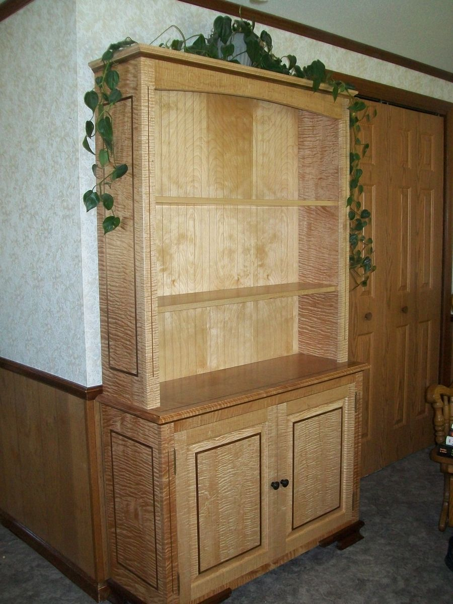 Hand Crafted Curly Maple Bookcase With Walnut Inlays By The