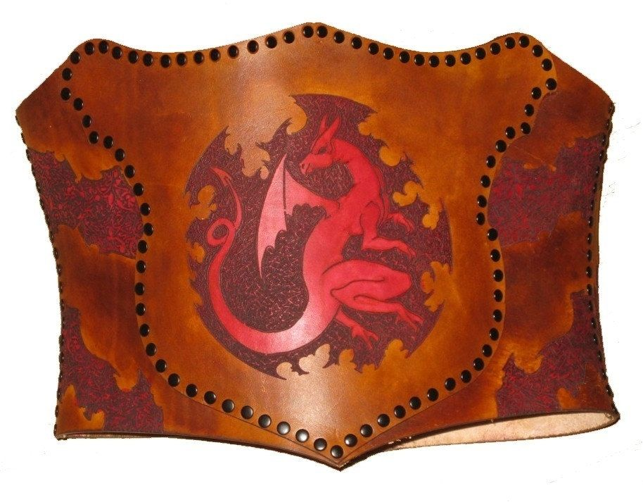 fe79165d525 Hand Crafted Leather Year Of The Dragon With Flames Corset by Bsd ...