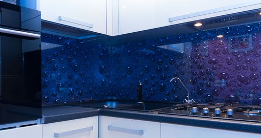 Custom Made Modern Kitchen Backsplash: Etched High Impact Glass Custom Design