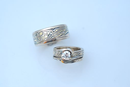 Custom Made Tri-Color Mokume Gane Wedding Set 2
