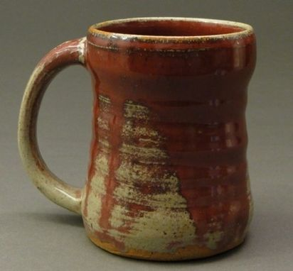 Custom Made Handmade Stoneware Pottery Mug With Copper Red Glaze And Drips, (Sku 27)