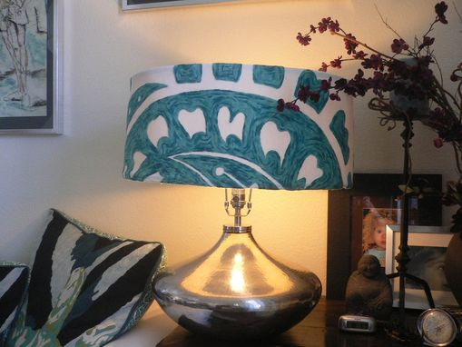 Custom Made Large, Embroidered Wool/Cotton Anthropologie Lamp Shade, Or Chandelier, Rawhide Interior