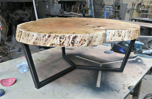 Custom Made Round Maple And Steel Coffee Table